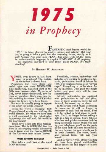 1975 in Prophecy! by Herbert W. Armstrong