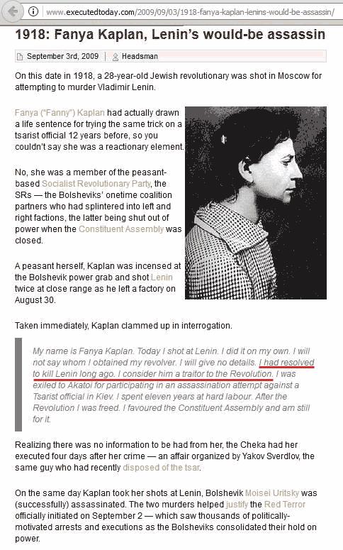 Fanya Kaplan, Revolutionary who shot Lenin, founder of the Bolshevik Party which overthrew Russia.
