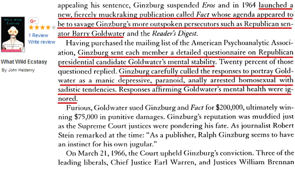 The Unscrupulous Method of Bias and Wilful Intent to Slander and Defame Bobby Fischer and Barry Goldwater