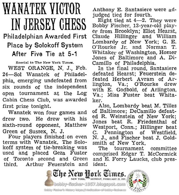 Eight tied at 4-2; Fischer vs J. Goldsmith