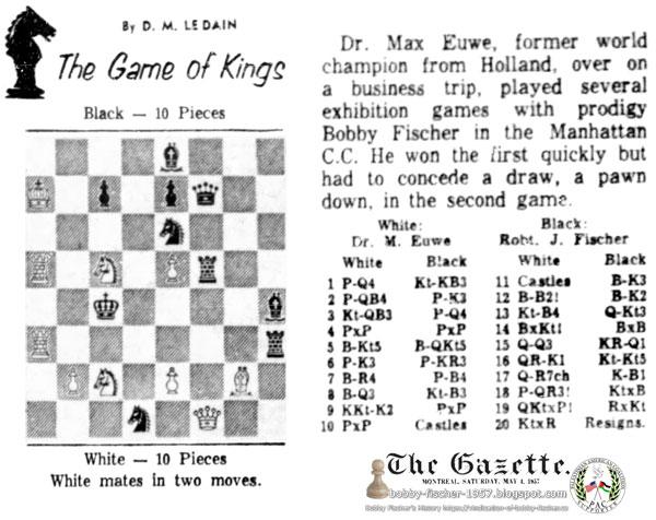 Dr. Max Euwe Vs. Bobby Fischer at Manhattan Chess Club
