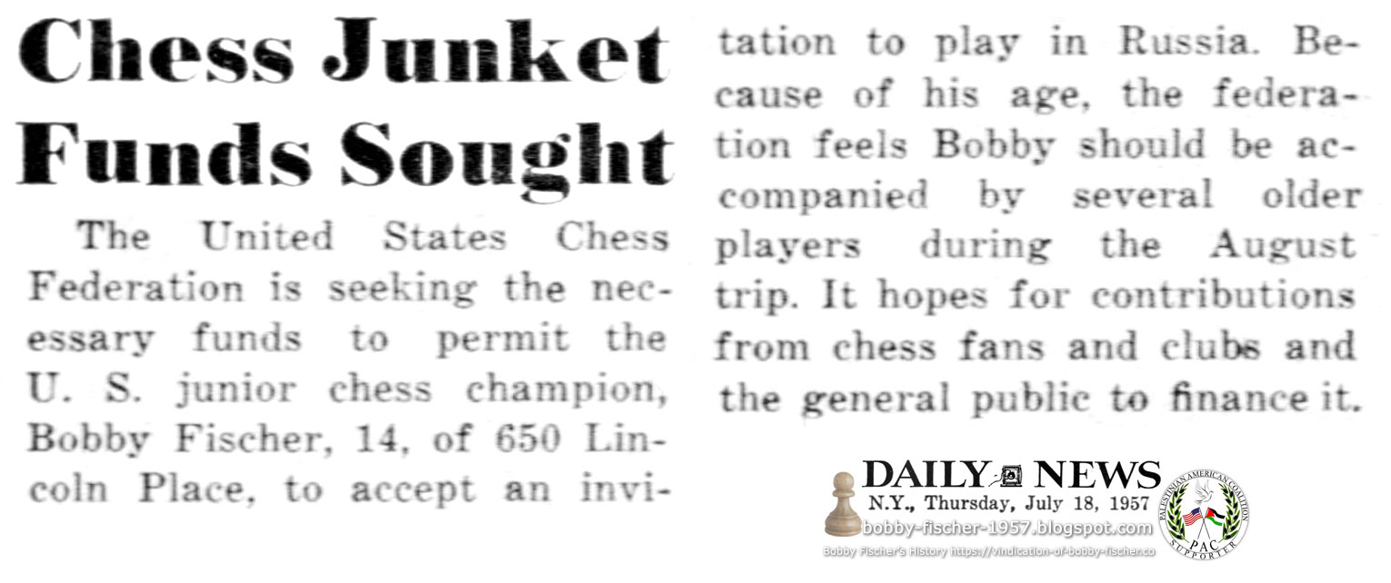 Chess Junket Funds Sought