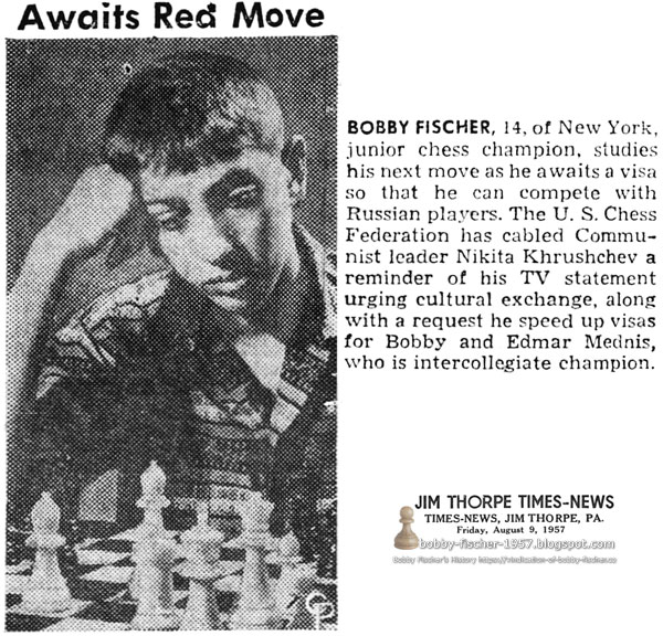 Bobby Fischer Waits on Visa to Compete With Russian Players