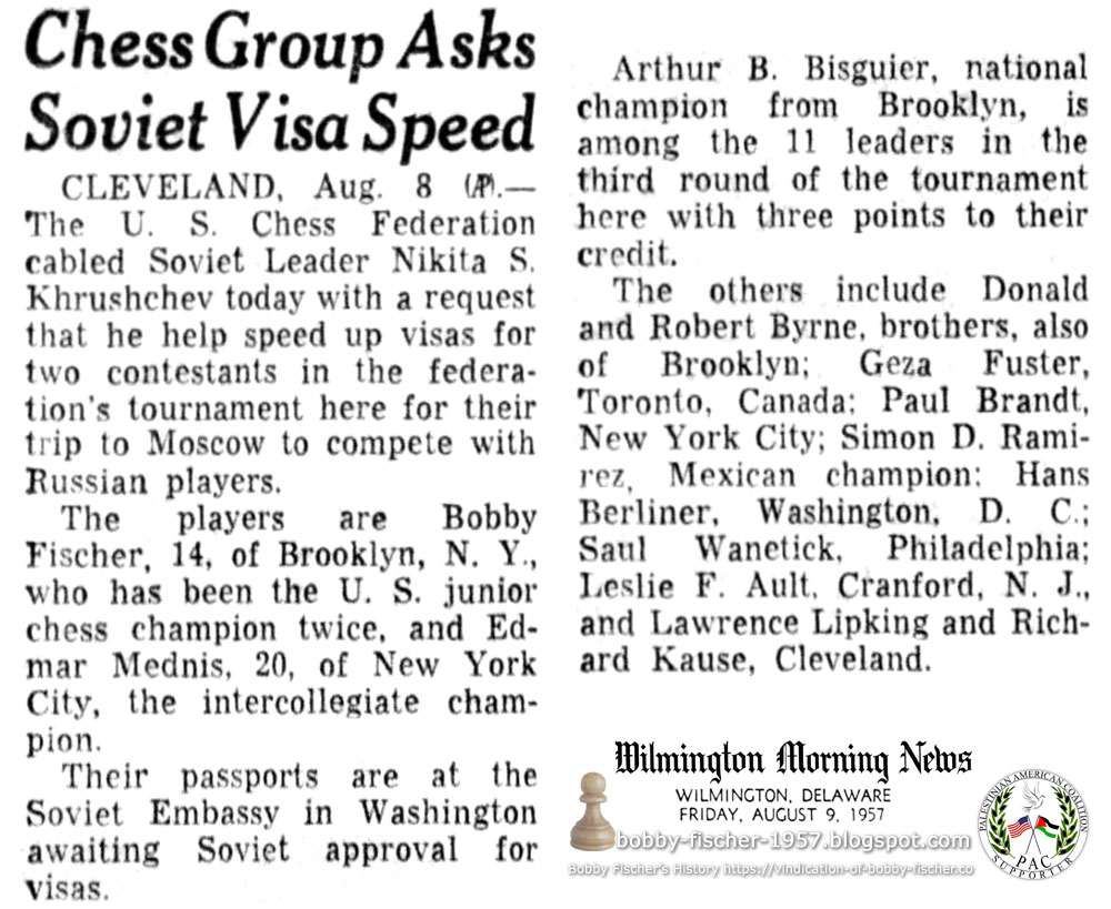 Chess Group Asks Soviet Visa Speed