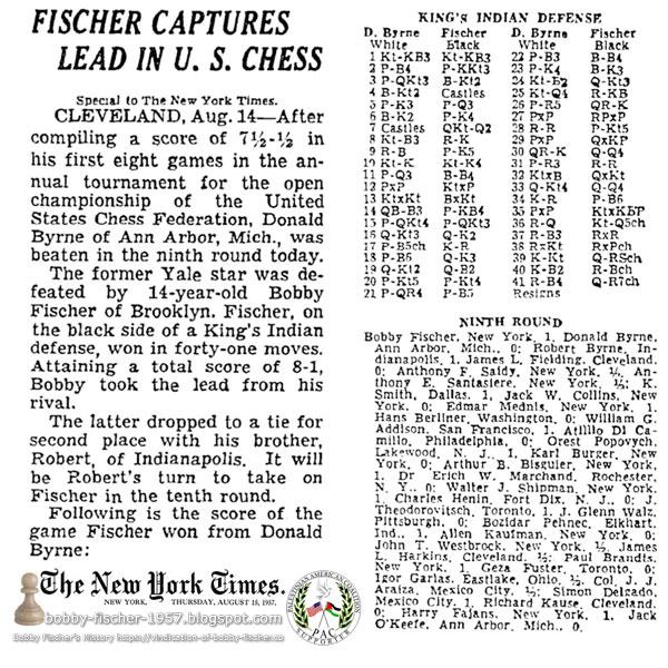 Fischer Captures Lead In U.S. Chess