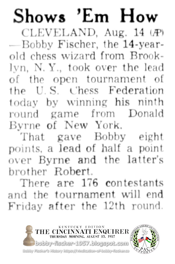 Bobby Fischer Takes Over Lead of U.S. Open Tournament