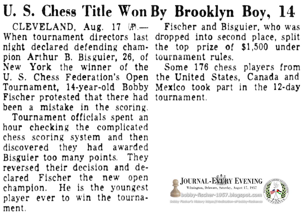 U.S. Chess Title Won By Brooklyn Boy, 14