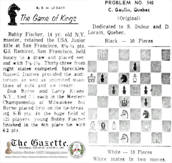 Bobby Fischer Retained U.S. Junior Title