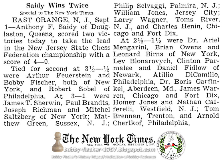 Bobby Fischer and Arthur Feuerstein Tied for Second