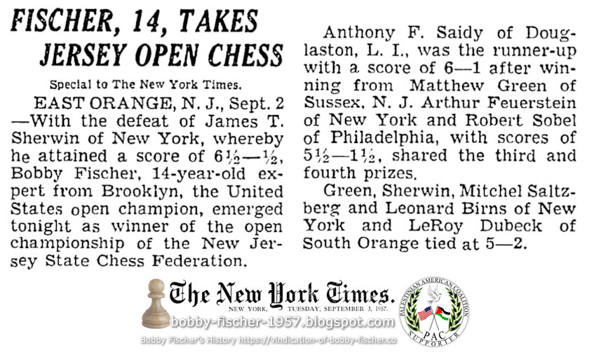 Fischer, 14, Takes Jersey Open Chess