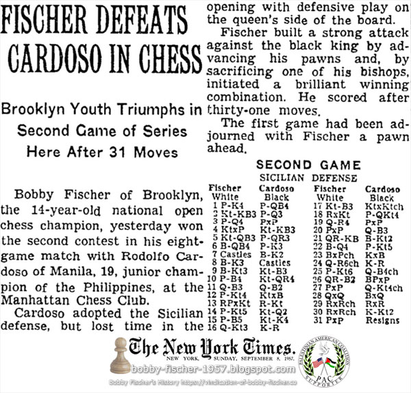 Fischer Defeats Cardoso In Chess
