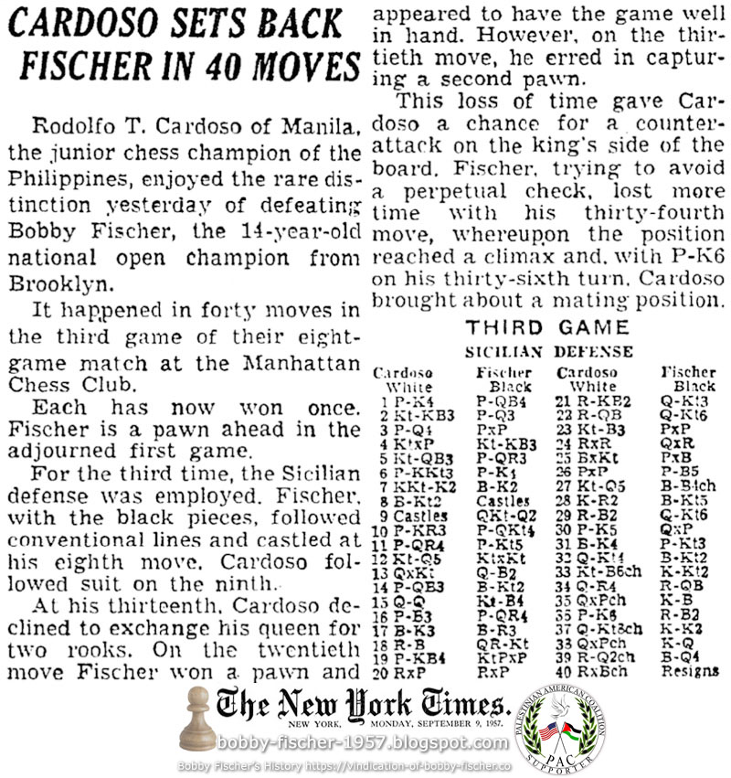 Cardoso Sets Back Fischer In 40 Moves
