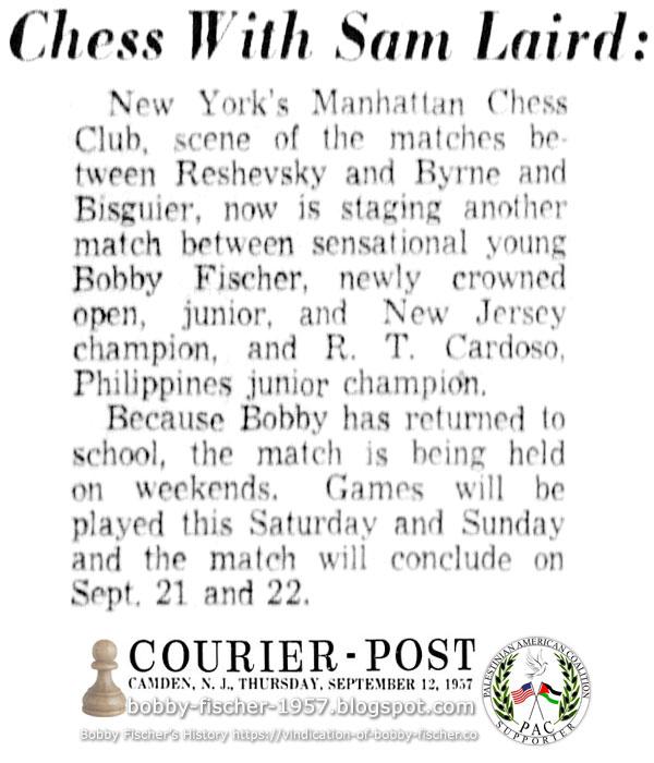 Bobby Fischer Vs. R.T. Cardoso, Manhattan Chess Club