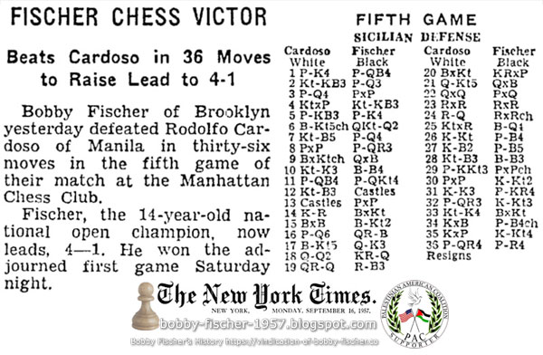 Fischer Chess Victor; Beats Cardoso in 36 Moves to Raise Lead to 4-1