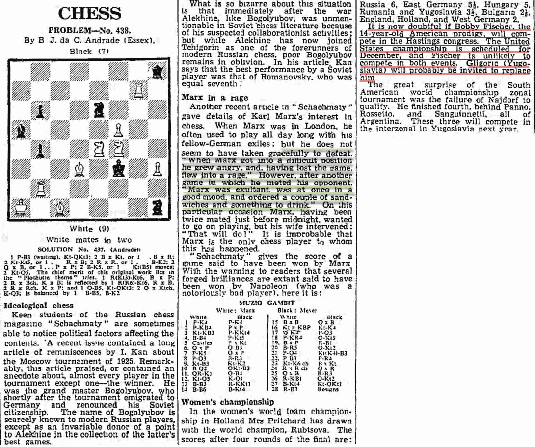Bobby Fischer 1957 News Article