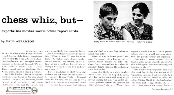 Only 14, he's a chess whiz, but—Though Brooklyn's Bobby Fischer amazes chess experts, his mother wants better report cards