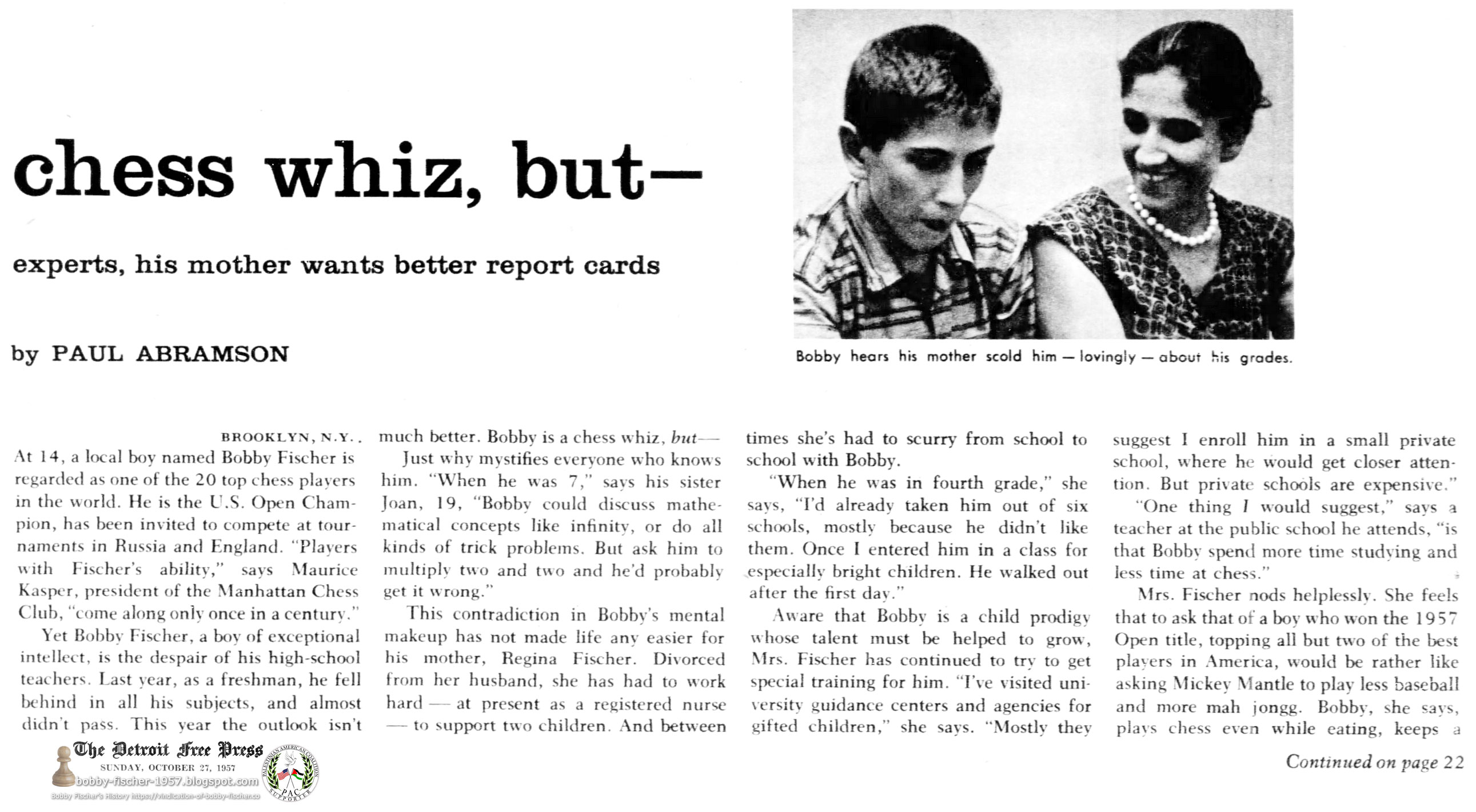 Brooklyn's Bobby Fischer amazes chess experts, his mother wants better report cards