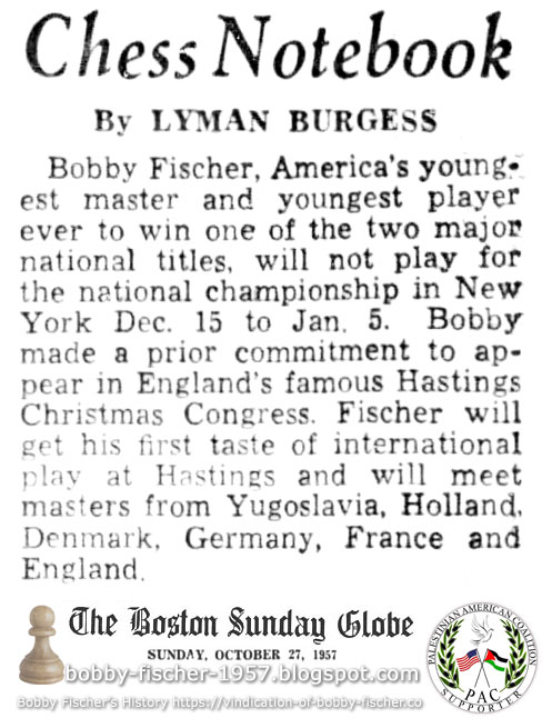 Bobby Fischer and Hastings Christmas Congress