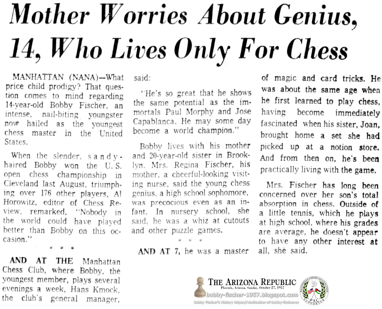 Mother Worries About Genius, 14, Who Lives Only For Chess