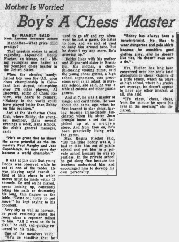 Bobby Fischer 1957 News Article