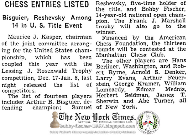 Chess Entries Listed: Bisguier, Reshevsky Among 14 in U.S. Title Event
