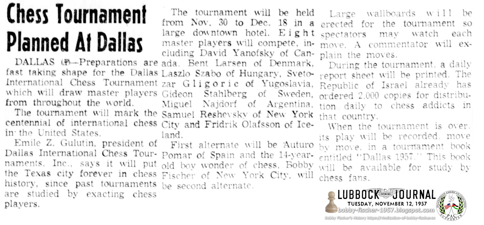 Chess Tournament Planned At Dallas