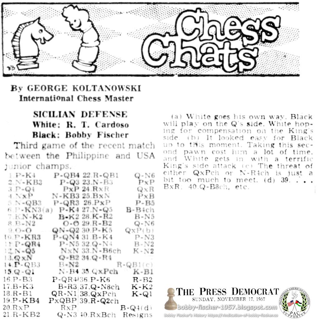 Sicilian Defense: R.T. Cardoso vs. Bobby Fischer