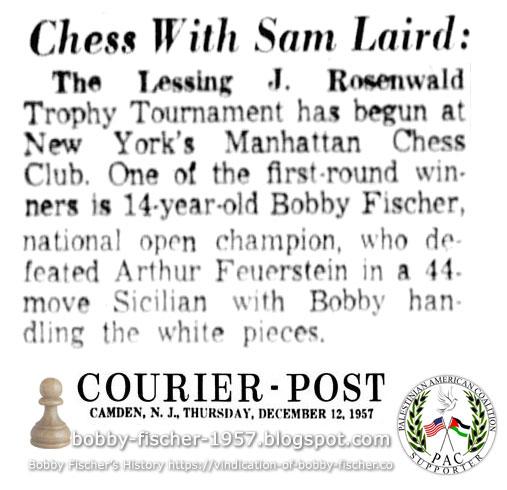 Bobby Fischer, First Round Winner in Lessing J. Rosenwald Tournament