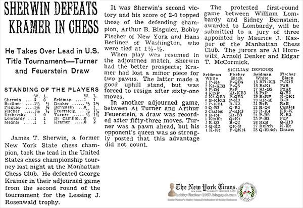 Bobby Fischer and Hans Berliner Tied