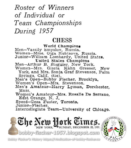 Roster of Winners of Individual or Team Championships During 1957