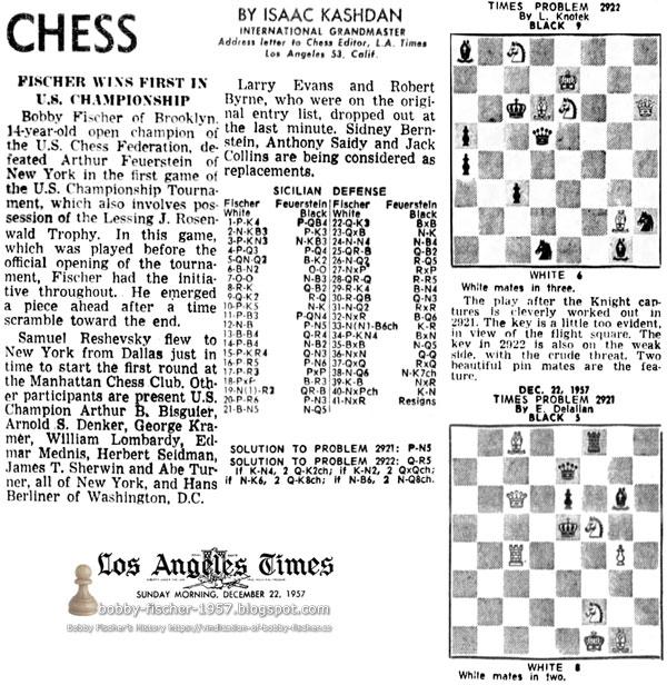 Fischer Wins First In U.S. Championship