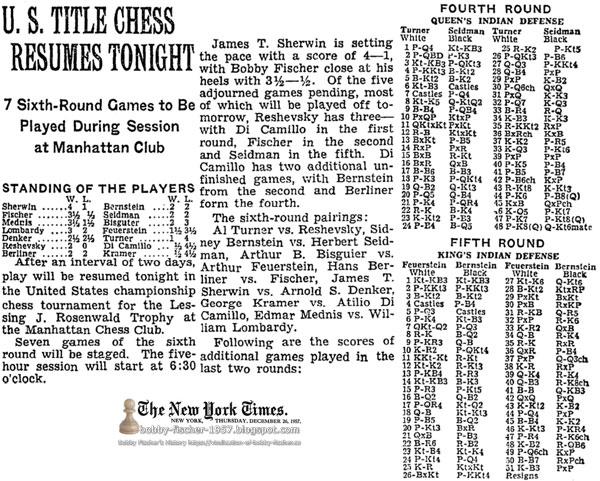 U.S. Title Chess Resumes Tonight