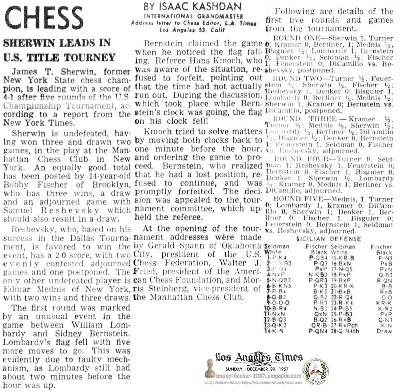 Fischer Annexes Lead In U.S. Chess