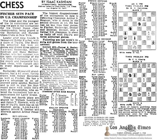 Fischer Sets Pace In U.S. Championship