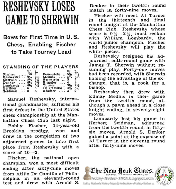Reshevsky Loses Game To Sherwin: Bows for First Time in U.S. Chess, Enabling Fischer to Take Tourney Lead