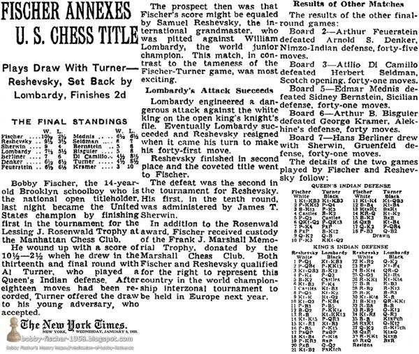 Fischer Annexes U.S. Chess Title