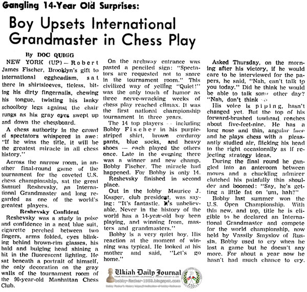 Gangling 14-Year Old Surprises: Boy Upsets International Grandmaster in Chess Play