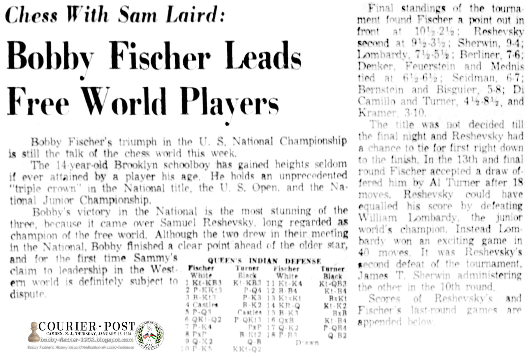 Bobby Fischer Leads Free World Players