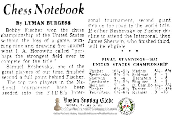 Bobby Fischer Wins Chess Championship of the United States Without the Loss of a Game