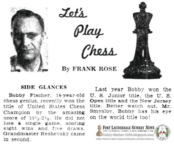 Bobby Fischer, 14-year-old chess genius Wins U.S. Chess Championship