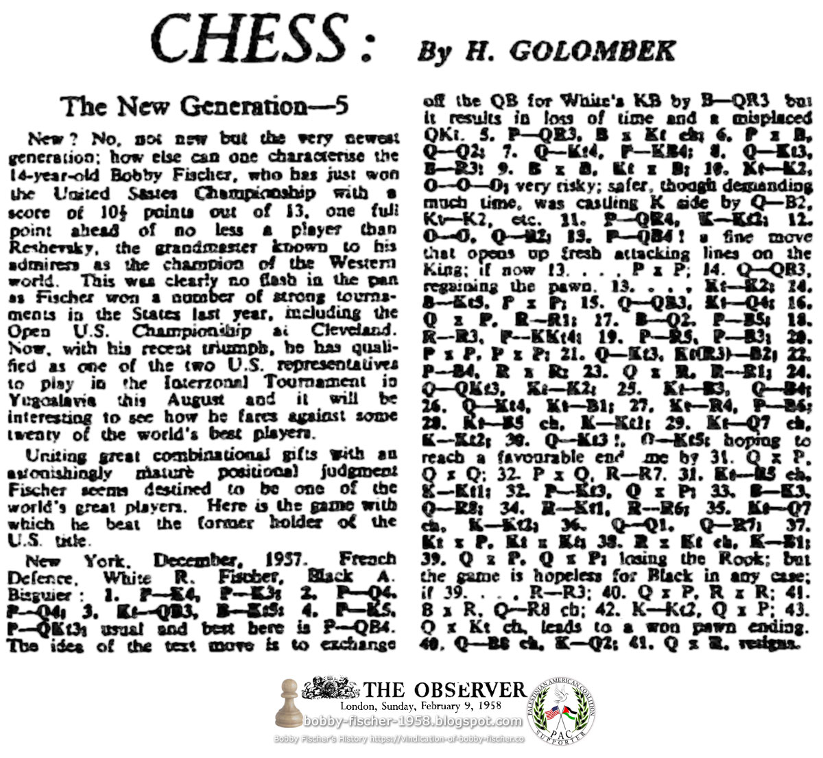 Chess: The New Generation