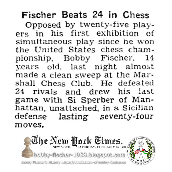 Fischer Beats 24 In Chess