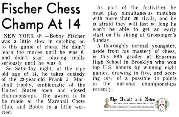 Fischer Chess Champ At 14