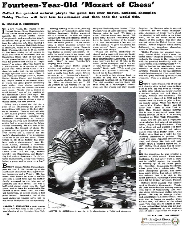 Fourteen-Year-Old 'Mozart of Chess'; Called the greatest natural player the game has ever known, national champion Bobby Fischer will first lose his adenoids and then seek the world title.