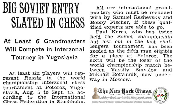 Big Soviet Entry Slated in Chess