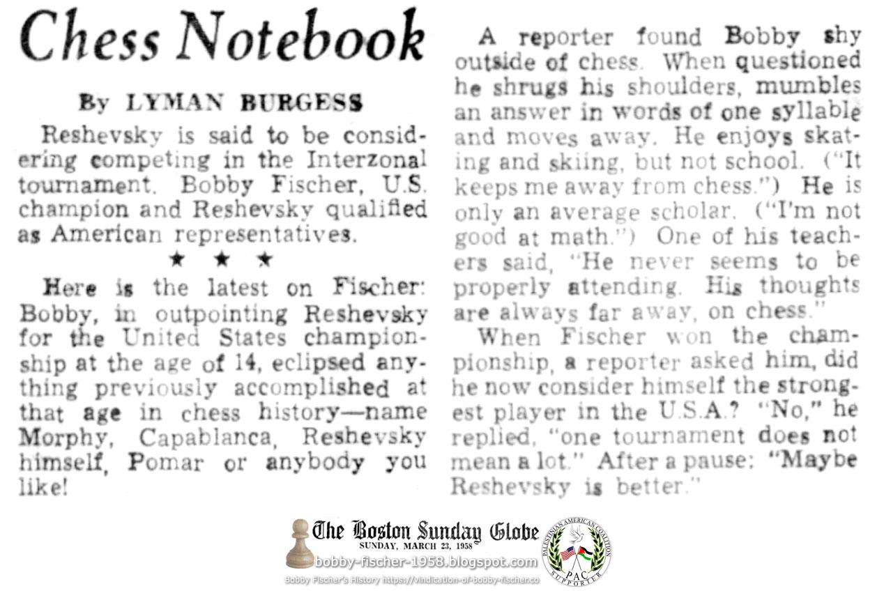 Latest On Bobby Fischer