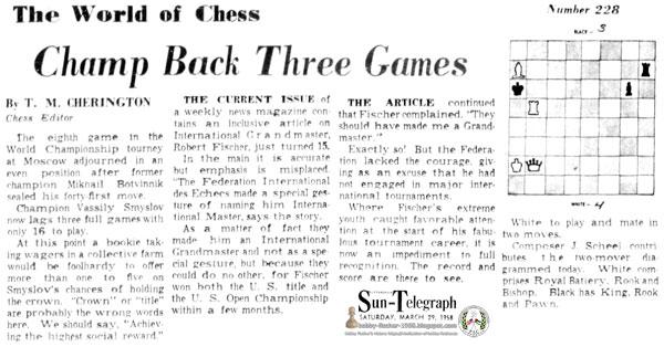 The World of Chess - Robert Fischer Turns 15