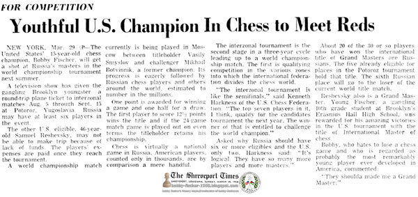 Youthful U.S. Champion In Chess to Meet Reds For Competition