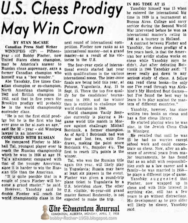 U.S. Chess Prodigy May Win Crown
