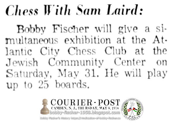 Bobby Fischer Simultaneous Exhibition, Up to 25 Boards at Jewish Community Center